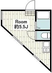 相鉄本線 西横浜駅 徒歩10分の賃貸アパート 2階ワンルームの間取り