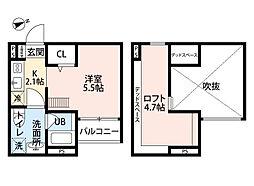 南海線 住吉大社駅 徒歩11分の賃貸アパート 1階1Kの間取り