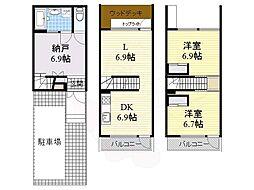 阪急千里線 南千里駅 徒歩11分の賃貸マンション 1階2SLDKの間取り