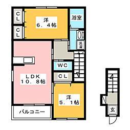 リバティA[2階]の間取り