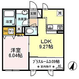 JR身延線 常永駅 徒歩11分の賃貸アパート 1階1LDKの間取り