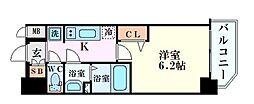 阪急神戸本線 中津駅 徒歩3分の賃貸マンション 8階1Kの間取り