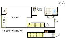 JR山陽本線 岡山駅 バス41分 岡電バス川東町入口下車 徒歩6分の賃貸アパート 2階1Kの間取り