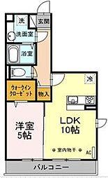 JR横浜線 中山駅 徒歩16分の賃貸アパート 1階1LDKの間取り