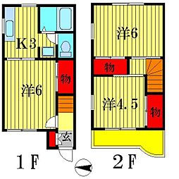 [テラスハウス] 千葉県松戸市八ヶ崎2丁目 の賃貸【/】の間取り
