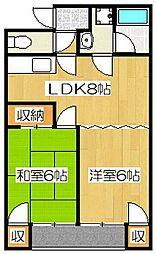 京都府京都市伏見区向島庚申町の賃貸アパートの間取り