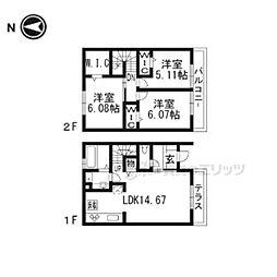 阪急京都本線 西向日駅 徒歩25分の賃貸アパート 1階3LDKの間取り