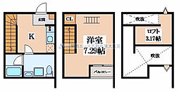 大阪府東大阪市玉串町東3丁目の賃貸アパートの間取り
