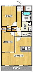大阪府八尾市青山町5丁目の賃貸アパートの間取り