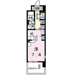 レジデンスTK 吉田 3階1Kの間取り