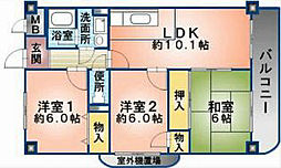 大阪府八尾市曙川東6丁目の賃貸マンションの間取り