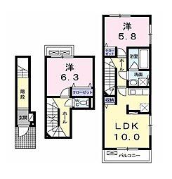 エムセレーノB[3階]の間取り