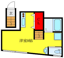 都営三田線 西巣鴨駅 徒歩3分の賃貸マンション 2階ワンルームの間取り