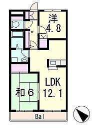滋賀県栗東市中沢1丁目の賃貸マンションの間取り