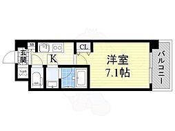 おおさか東線 城北公園通駅 徒歩8分の賃貸マンション 4階1Kの間取り