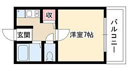 カツノII[407号室]の間取り