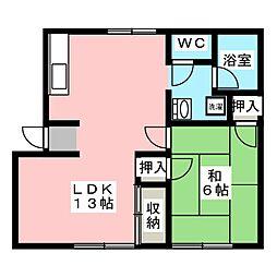 レインボーハイツ今B棟[2階]の間取り