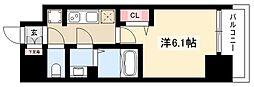 プレサンス丸の内アドブル 15階1Kの間取り