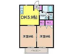 愛媛県松山市和泉南5丁目の賃貸アパートの間取り