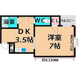 Osaka Metro谷町線 千林大宮駅 徒歩10分の賃貸マンション 3階1DKの間取り