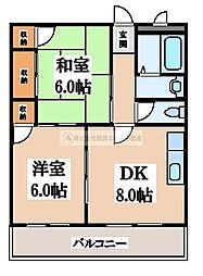 ロータリービルド南花田[4階]の間取り