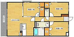 サニーコート梅満[5階]の間取り
