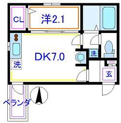 東武伊勢崎線 五反野駅 徒歩5分の賃貸アパート 3階1DKの間取り
