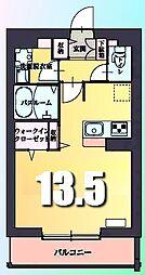 多摩都市モノレール 甲州街道駅 徒歩5分の賃貸マンション 4階ワンルームの間取り