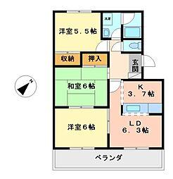 愛知県名古屋市西区八筋町の賃貸マンションの間取り