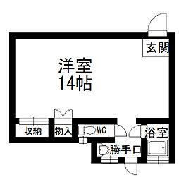 北秋田市綴子 カメリア館 1階ワンルームの間取り