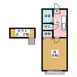 ホワイトキャッスル遠見塚12番館[1階]の間取り