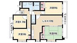 愛知県名古屋市天白区植田東3丁目の賃貸マンションの間取り