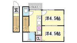 兵庫県神戸市長田区戸崎通2丁目の賃貸アパートの間取り