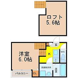 愛知県名古屋市港区東海通4丁目の賃貸アパートの間取り