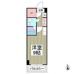 ドミール所沢V 旧くすの木台柳下マンションIII 7階ワンルームの間取り