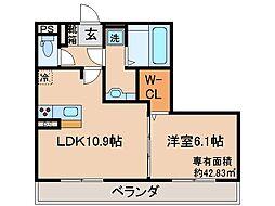 京都府京都市伏見区下鳥羽西柳長町の賃貸アパートの間取り
