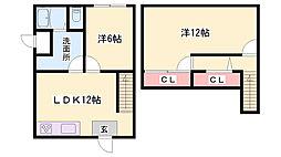 JR播但線 寺前駅 徒歩5分の賃貸一戸建て 1階2LDKの間取り