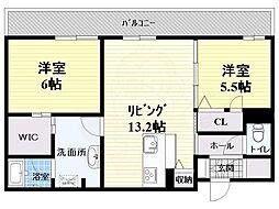 大阪モノレール彩都線 万博記念公園駅 徒歩10分の賃貸マンション 1階2LDKの間取り