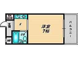 サンパレス布施 9階ワンルームの間取り