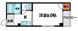 平代ハイツ 2階1Kの間取り
