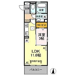 パステル須ヶ口 1階1LDKの間取り