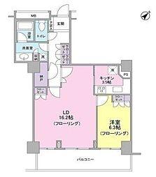 東急東横線 代官山駅 徒歩1分の賃貸マンション 20階1LDKの間取り