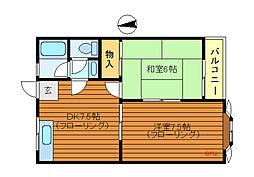 東京都三鷹市北野3丁目の賃貸アパートの間取り