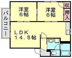 ファンタジープラザ篠栗C[2階]の間取り