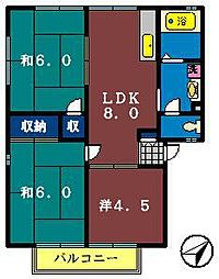 グリーンガーデン(勝田台)[205号室]の間取り