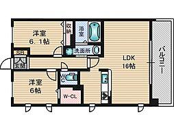 トリニティ北川口[2階]の間取り
