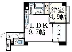 JR東海道・山陽本線 摂津本山駅 徒歩9分の賃貸マンション 5階1LDKの間取り
