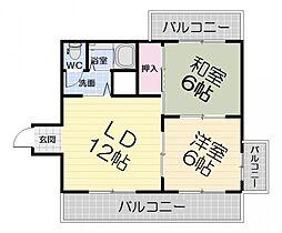 大阪府堺市西区鳳北町5丁の賃貸マンションの間取り