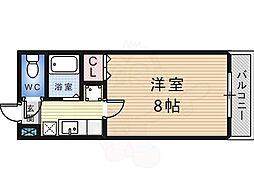 白鷺TKハイツ 5階1Kの間取り