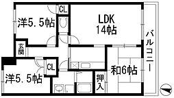 兵庫県宝塚市安倉中4丁目の賃貸マンションの間取り